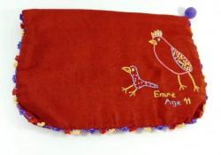 Kutnu Kumaş Üzerine El Nakışı İşlemeli Kuşlu Cüzdan21cm*15cm