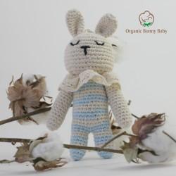 Organic Bonny Baby Mavi Tavşan Çıngırak