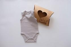 Organik Kolsuz Bebek Body Ekru - Pudra - Gri