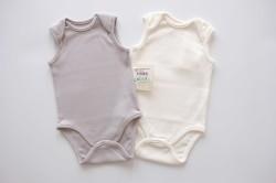 Organik Kolsuz Bebek Body İkili Ekru - Pudra - Gri