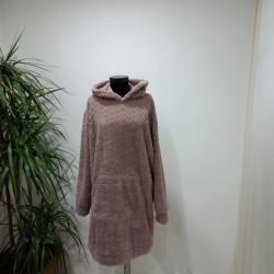 Pembe Peluş Uzun Sweatshirt