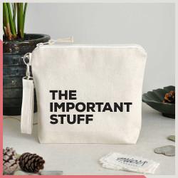 Stuff - The Important Stuff Fermuarlı El Çantası