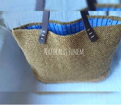 Hasır Rengi Shopper Çanta