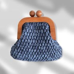 Ahşap Burslu Clutch-mavi