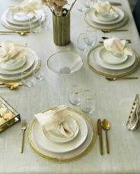 Mia Beyaz Masa Örtüsü Takımı