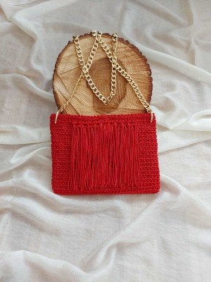 Elişi Kırmızı Püsküllü Tasarım Çanta