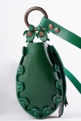 Özel Tasarım El Yapımı Doğal Yeşil Hakiki Deri Kadın Çanta