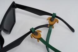 Gözlük Askısı Deri Özel Tasarım Yeşil Askı Sarı Caretta