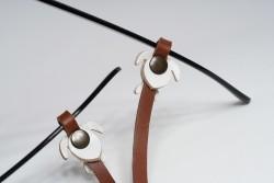 Gözlük Askısı Deri Özel Tasarım Kahve Askı Beyaz Caretta