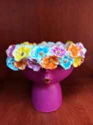 Çiçek Kafalı Kız Saksı