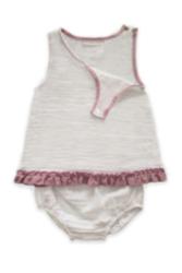 Calico Organik Müslin 2'li Alt-üst Kız Bebek Takımı // Beyaz