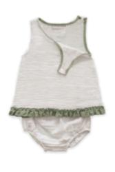 Organik Müslin 2'li Alt-üst Kız Bebek Takımı // Beyaz-mint