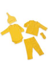 5'li Organik Bebek Takımı // Sarı // 0-3 Ay