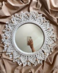 Makrome Ahşap Boncuklu Ayna
