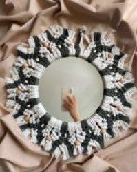 İki Renk Makrome Ayna Dekoru
