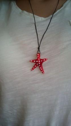 Kırmızı Deniz Yıldızı Cam Kolye