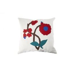 Çiçek Desenli Aplike Yastık Kılıfı
